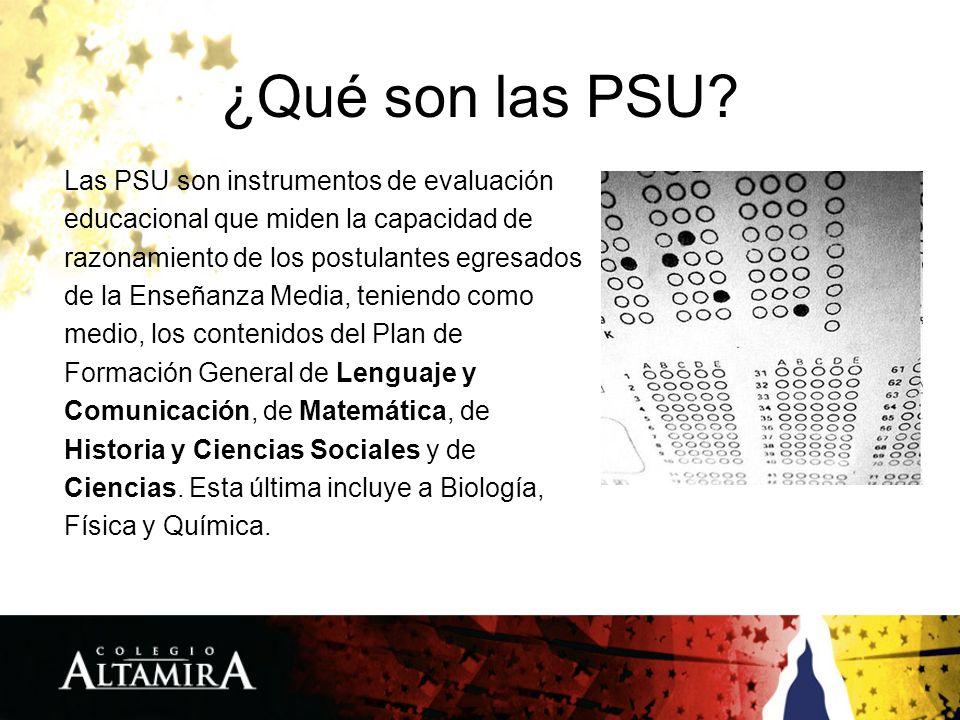 ¿Qué son las PSU? Las PSU son instrumentos de evaluación educacional que miden la capacidad de razonamiento de los postulantes egresados de la Enseñan