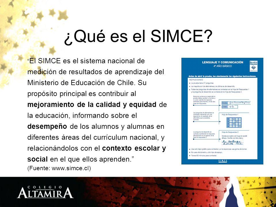 ¿Qué es el SIMCE? El SIMCE es el sistema nacional de medición de resultados de aprendizaje del Ministerio de Educación de Chile. Su propósito principa