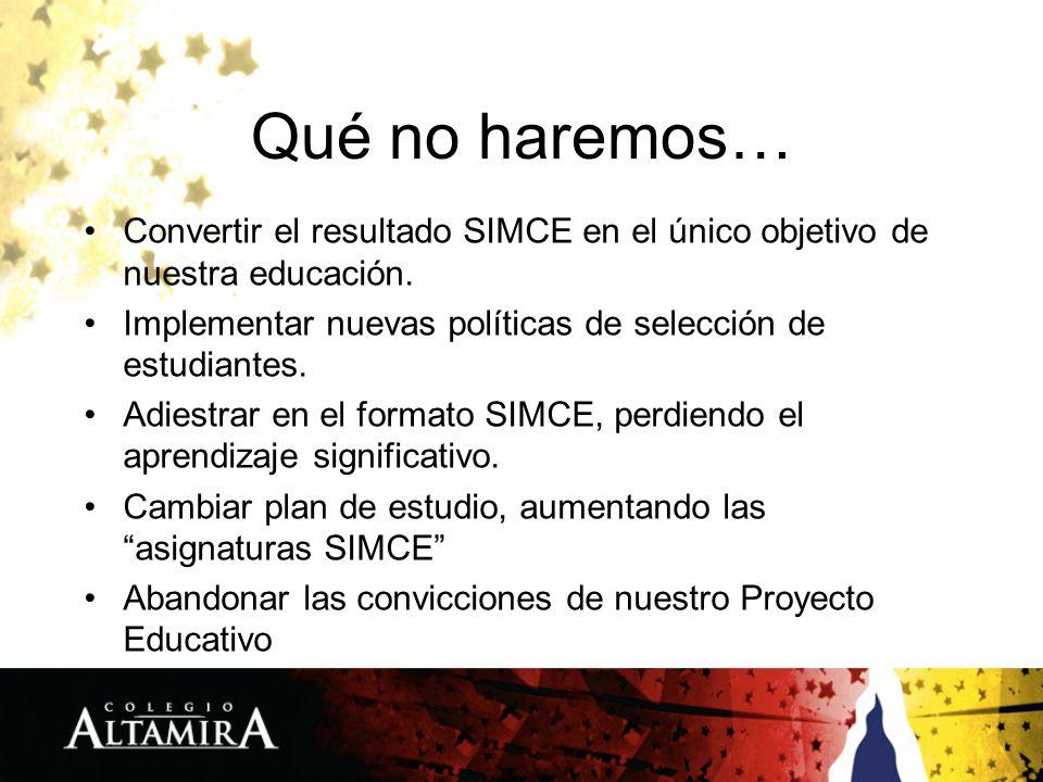 Qué no haremos… Convertir el resultado SIMCE en el único objetivo de nuestra educación. Implementar nuevas políticas de selección de estudiantes. Adie