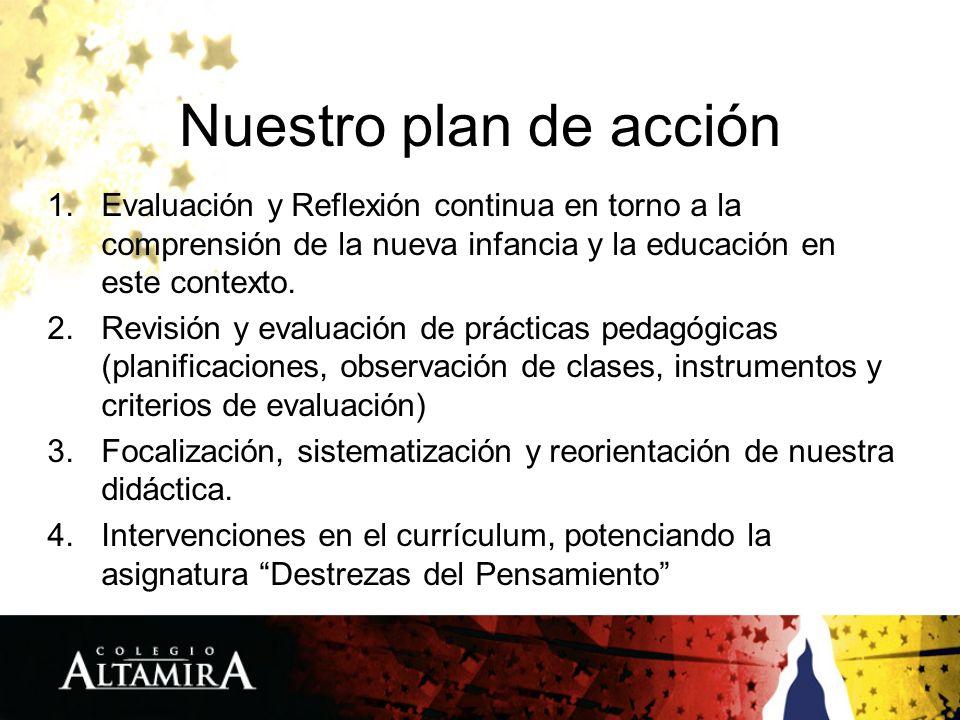 Nuestro plan de acción 1.Evaluación y Reflexión continua en torno a la comprensión de la nueva infancia y la educación en este contexto. 2.Revisión y