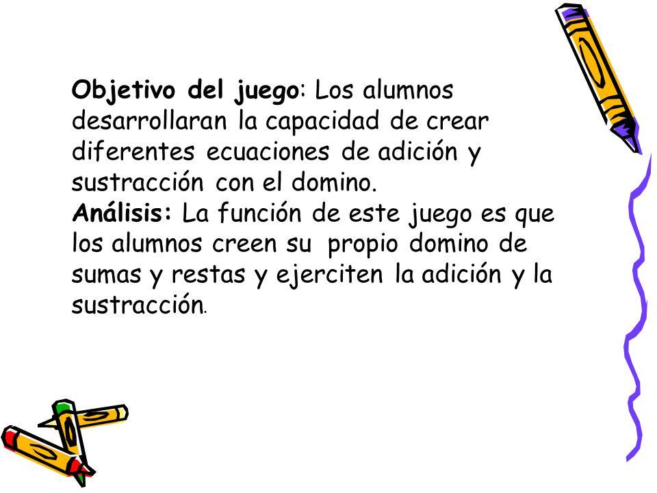 Objetivo del juego: Los alumnos desarrollaran la capacidad de crear diferentes ecuaciones de adición y sustracción con el domino. Análisis: La función