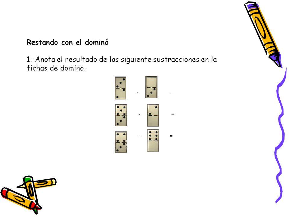 Restando con el dominó 1.-Anota el resultado de las siguiente sustracciones en la fichas de domino. - =