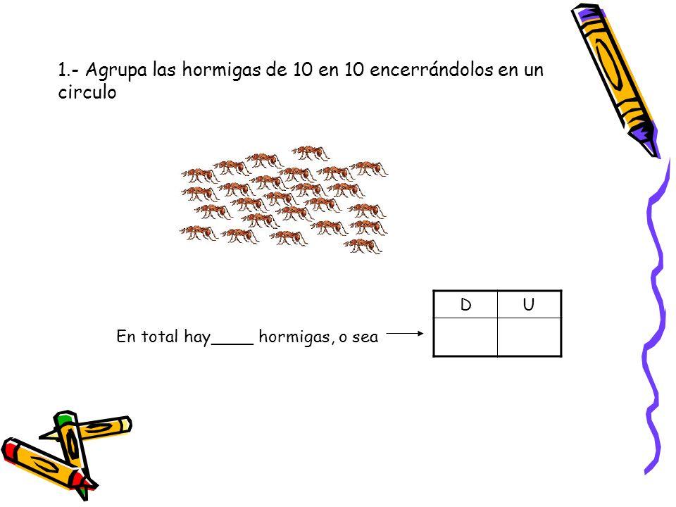 1.- Agrupa las hormigas de 10 en 10 encerrándolos en un circulo En total hay____ hormigas, o sea DU