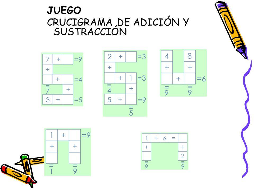 Objetivo del juego: Desarrollar las habilidades de razonamiento y pensamiento l ó gico mediante la adici ó n y la sustracci ó n.