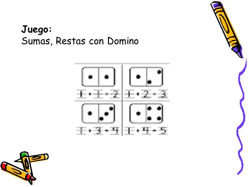 Objetivo del juego: Los alumnos desarrollaran la capacidad de crear diferentes ecuaciones de adición y sustracción con el domino.