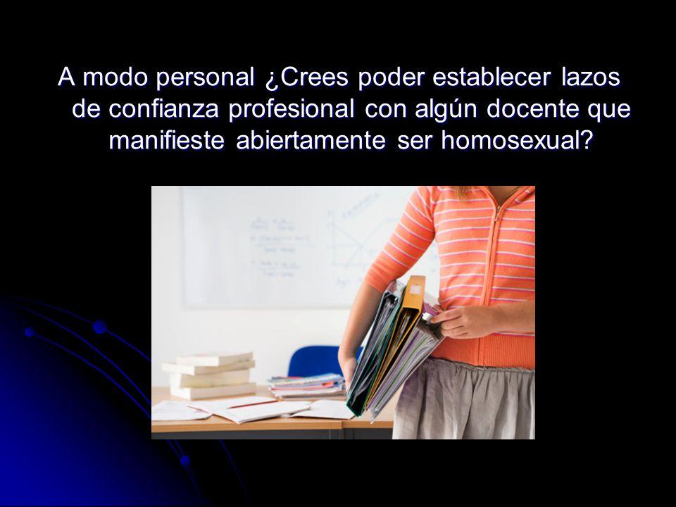 A modo personal ¿Crees poder establecer lazos de confianza profesional con algún docente que manifieste abiertamente ser homosexual?