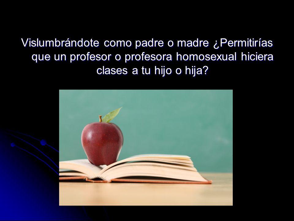 Vislumbrándote como padre o madre ¿Permitirías que un profesor o profesora homosexual hiciera clases a tu hijo o hija?