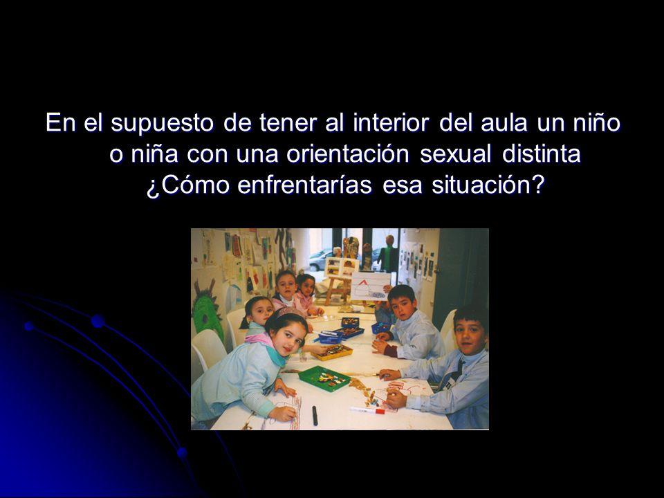 En el supuesto de tener al interior del aula un niño o niña con una orientación sexual distinta ¿Cómo enfrentarías esa situación?