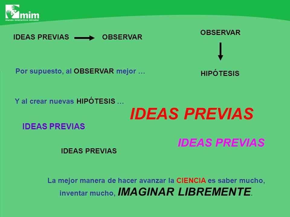 OBSERVARIDEAS PREVIAS Por supuesto, al OBSERVAR mejor … OBSERVAR HIPÓTESIS Y al crear nuevas HIPÓTESIS … IDEAS PREVIAS La mejor manera de hacer avanza