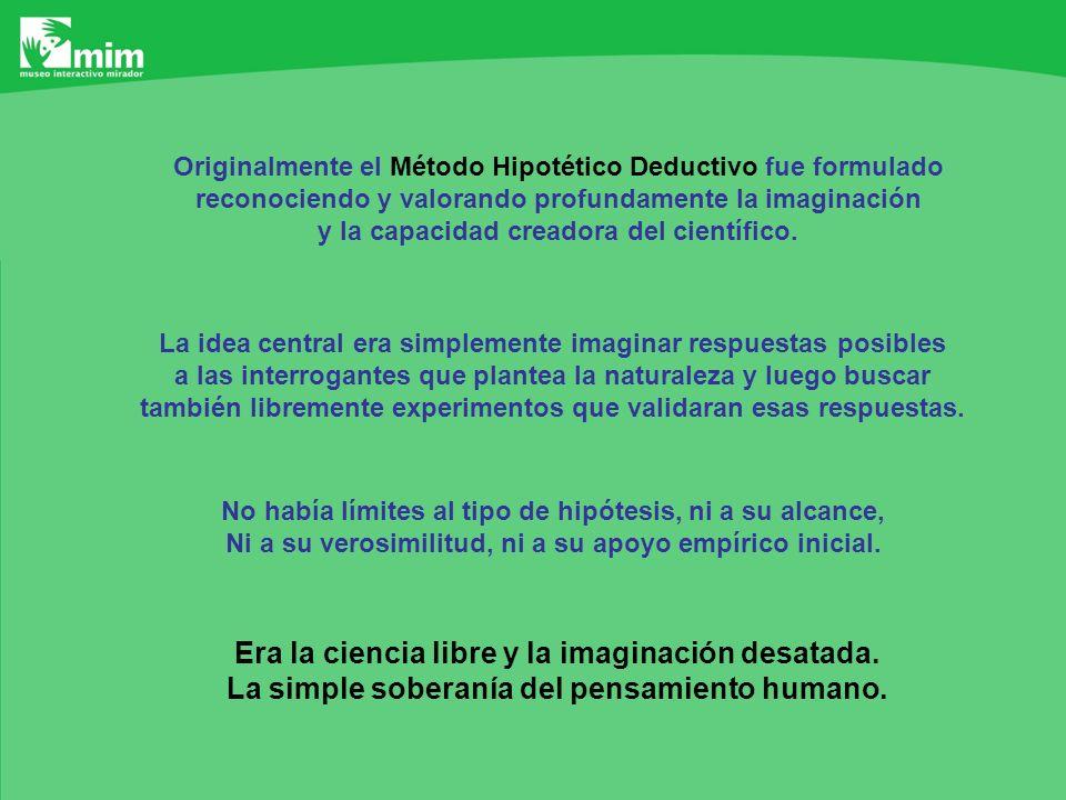 El MÉTODO HIPOTÉTICO DEDUCTIVO se presenta así: INDUCCIÓN 1HIPÓTESIS COSECUENCIAS OBSERVABLES INDUCCIÓN 2 Se espera que la primera INDUCCIÓN permita formular HIPÓTESIS ADECUADAS Y se espera que la segunda INDUCCIÓN permita PROBARLAS