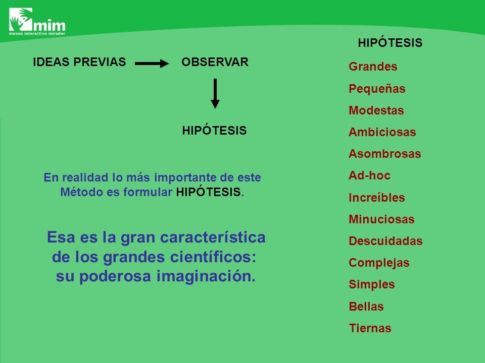 OBSERVARIDEAS PREVIAS HIPÓTESIS En realidad lo más importante de este Método es formular HIPÓTESIS. Esa es la gran característica de los grandes cient