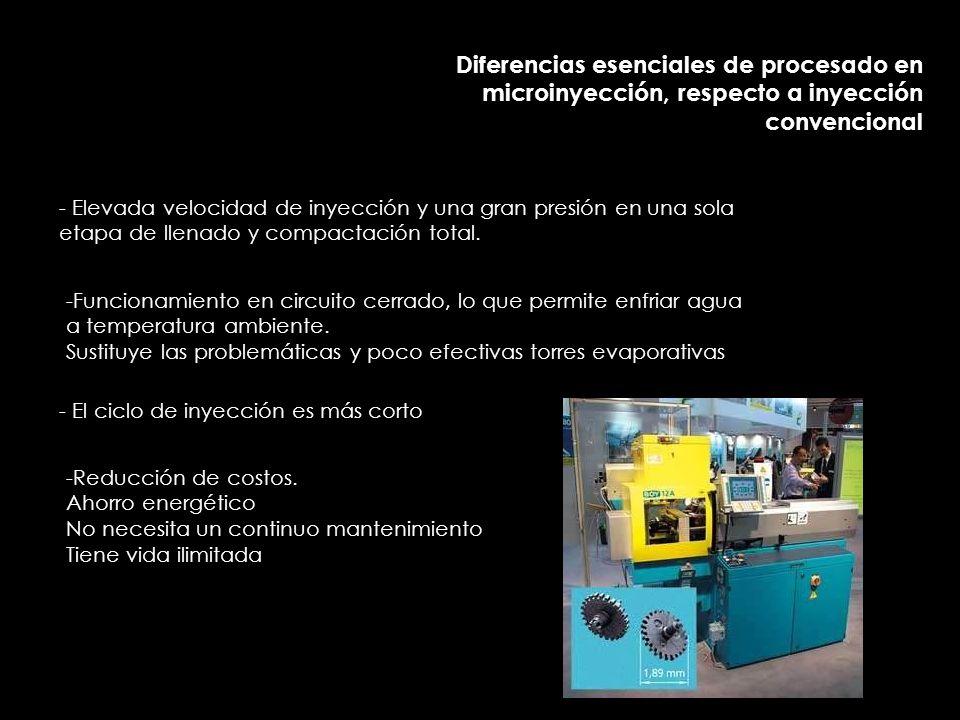 Diferencias esenciales de procesado en microinyección, respecto a inyección convencional - Elevada velocidad de inyección y una gran presión en una sola etapa de llenado y compactación total.