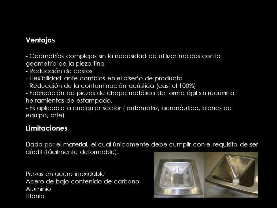 Ventajas - Geometrías complejas sin la necesidad de utilizar moldes con la geometría de la pieza final - Reducción de costos - Flexibilidad ante cambios en el diseño de producto - Reducción de la contaminación acústica (casi el 100%) - Fabricación de piezas de chapa metálica de forma ágil sin recurrir a herramientas de estampado.