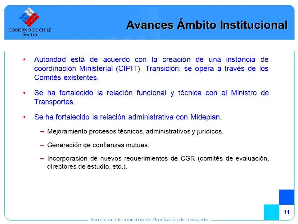 11 Autoridad está de acuerdo con la creación de una instancia de coordinación Ministerial (CIPIT).