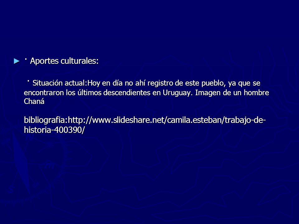 · Aportes culturales: · Situación actual:Hoy en día no ahí registro de este pueblo, ya que se encontraron los últimos descendientes en Uruguay. Imagen
