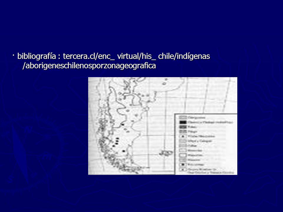 · bibliografía : tercera.cl/enc_ virtual/his_ chile/indígenas /aborigeneschilenosporzonageografica