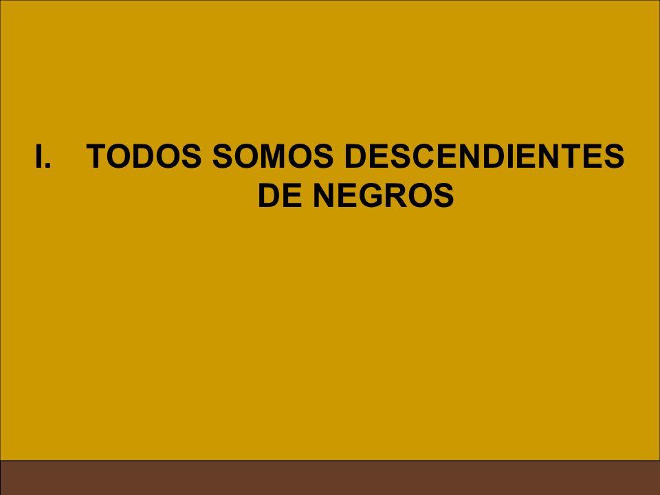 II. TODOS SOMOS DESCENDIENTES DE ESCLAVOS I.TODOS SOMOS DESCENDIENTES DE NEGROS