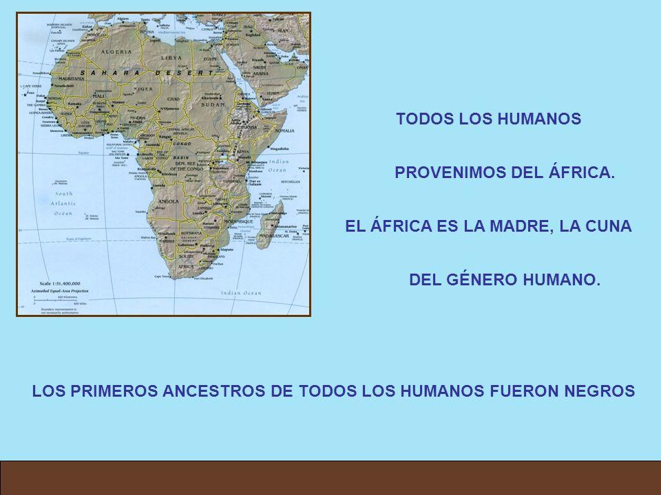 TODOS LOS HUMANOS PROVENIMOS DEL ÁFRICA. EL ÁFRICA ES LA MADRE, LA CUNA DEL GÉNERO HUMANO. LOS PRIMEROS ANCESTROS DE TODOS LOS HUMANOS FUERON NEGROS