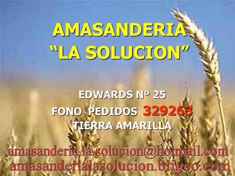 AMASANDERIA LA SOLUCION EDWARDS Nº 25 FONO PEDIDOS 329263 TIERRA AMARILLA