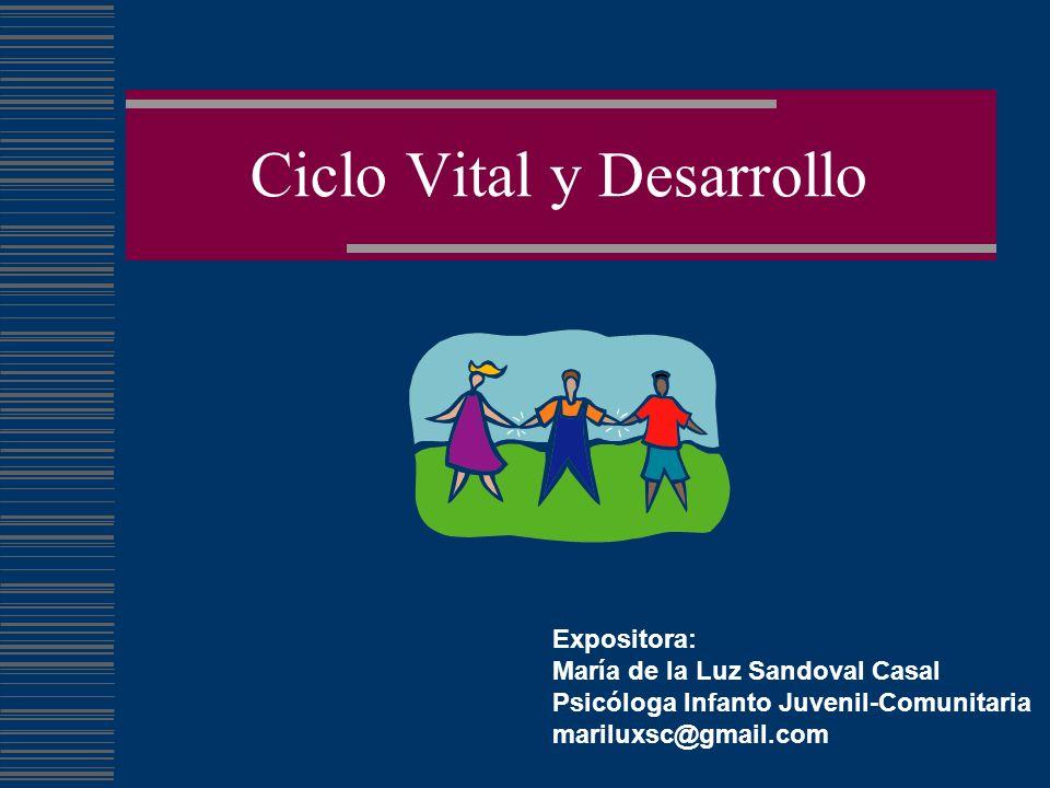 Ciclo Vital y Desarrollo Expositora: María de la Luz Sandoval Casal Psicóloga Infanto Juvenil-Comunitaria mariluxsc@gmail.com