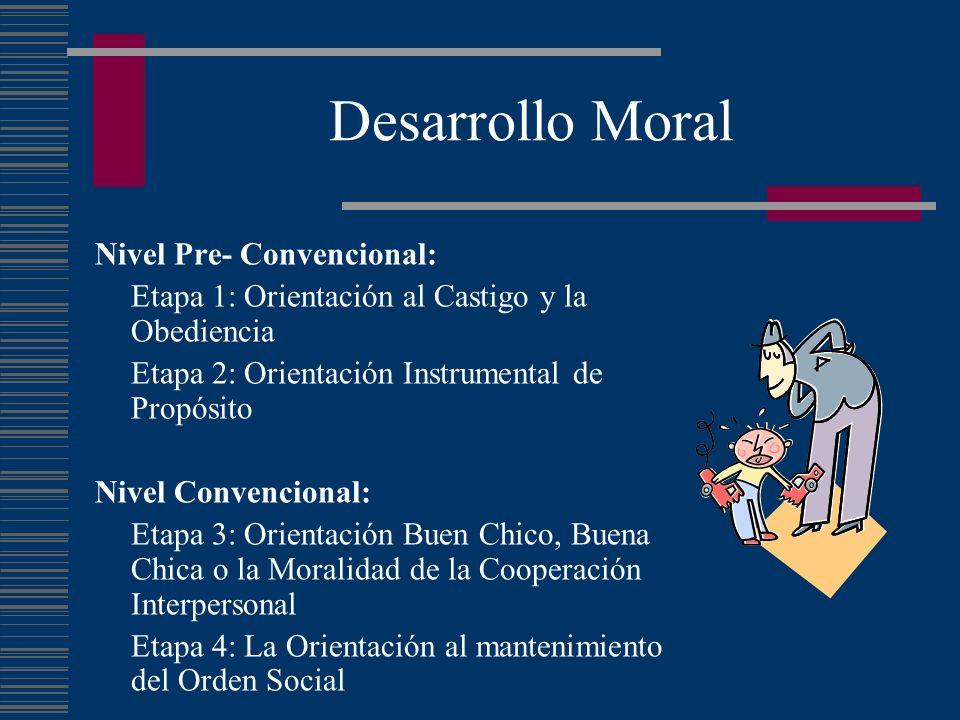 Desarrollo Moral Nivel Pre- Convencional: Etapa 1: Orientación al Castigo y la Obediencia Etapa 2: Orientación Instrumental de Propósito Nivel Convenc