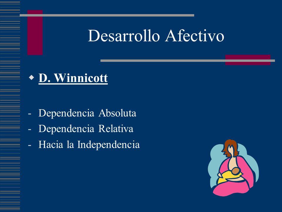 Desarrollo Afectivo D. Winnicott -Dependencia Absoluta -Dependencia Relativa -Hacia la Independencia