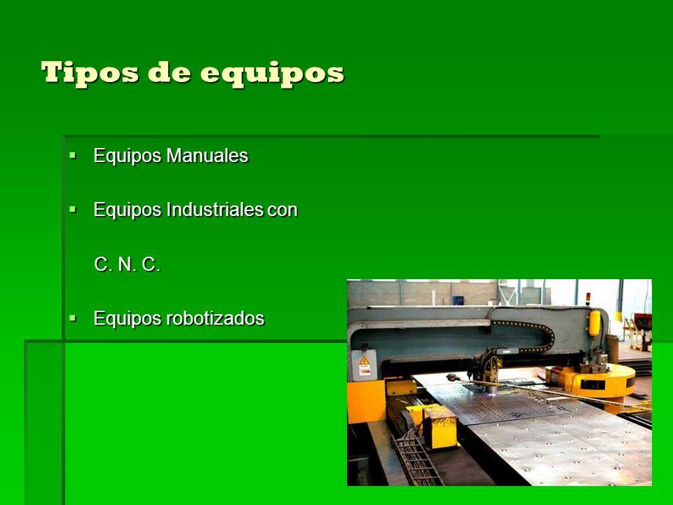 Tipos de equipos Equipos Manuales Equipos Manuales Equipos Industriales con Equipos Industriales con C. N. C. C. N. C. Equipos robotizados Equipos rob