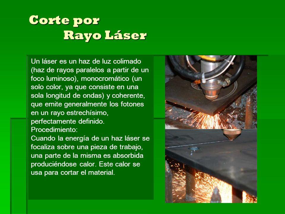 Corte por Rayo Láser Un láser es un haz de luz colimado (haz de rayos paralelos a partir de un foco luminoso), monocromático (un solo color, ya que consiste en una sola longitud de ondas) y coherente, que emite generalmente los fotones en un rayo estrechísimo, perfectamente definido.