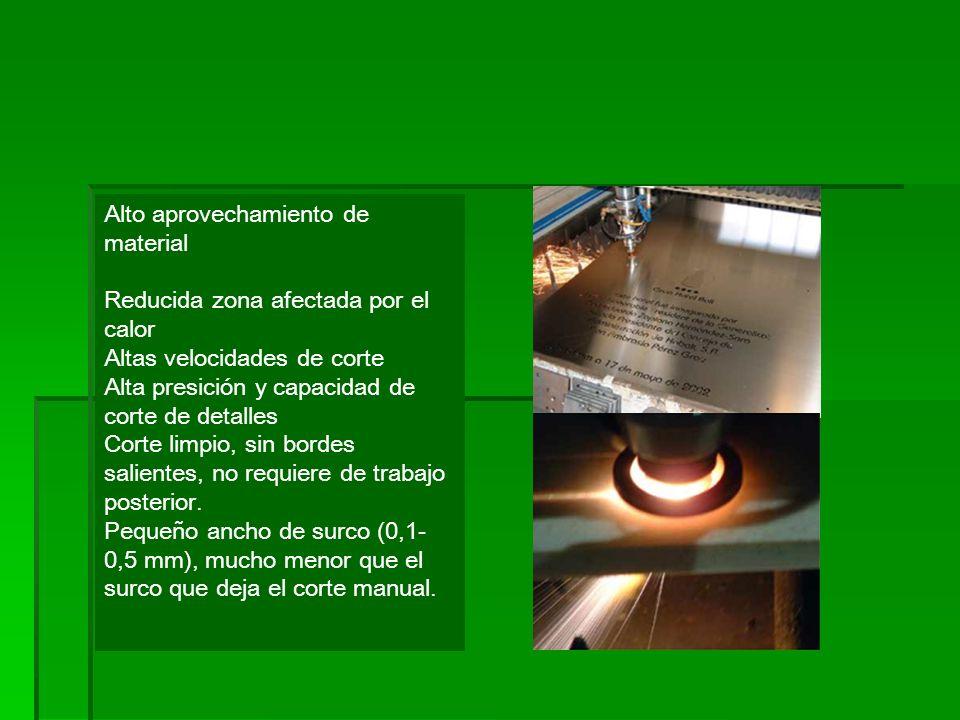 Alto aprovechamiento de material Reducida zona afectada por el calor Altas velocidades de corte Alta presición y capacidad de corte de detalles Corte limpio, sin bordes salientes, no requiere de trabajo posterior.