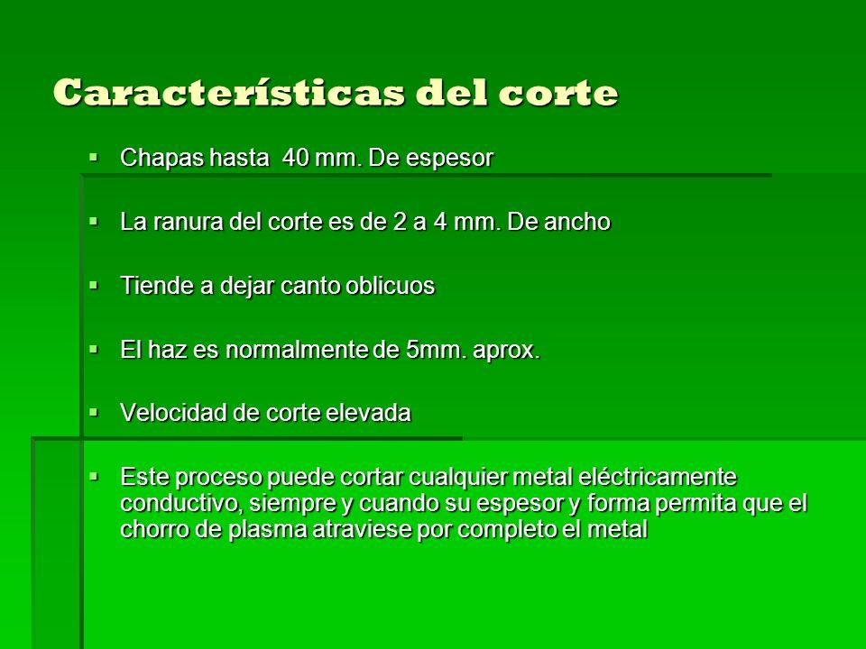 Características del corte Chapas hasta 40 mm. De espesor Chapas hasta 40 mm. De espesor La ranura del corte es de 2 a 4 mm. De ancho La ranura del cor