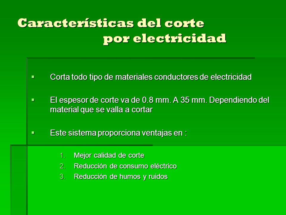 Características del corte por electricidad Corta todo tipo de materiales conductores de electricidad Corta todo tipo de materiales conductores de electricidad El espesor de corte va de 0.8 mm.