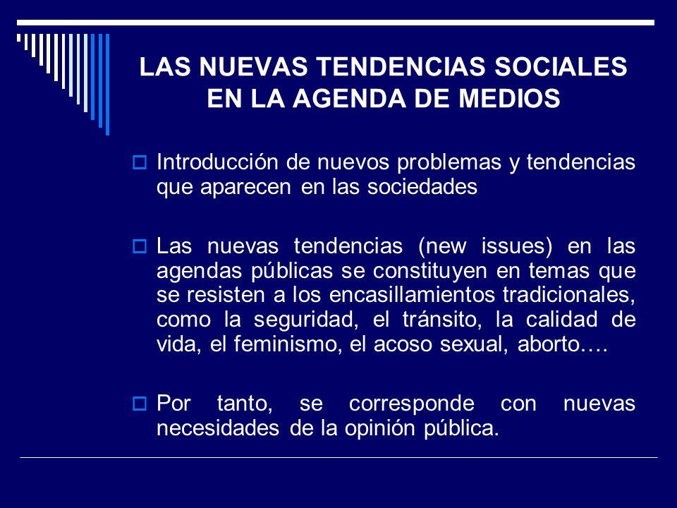 LAS NUEVAS TENDENCIAS SOCIALES EN LA AGENDA DE MEDIOS Introducción de nuevos problemas y tendencias que aparecen en las sociedades Las nuevas tendenci