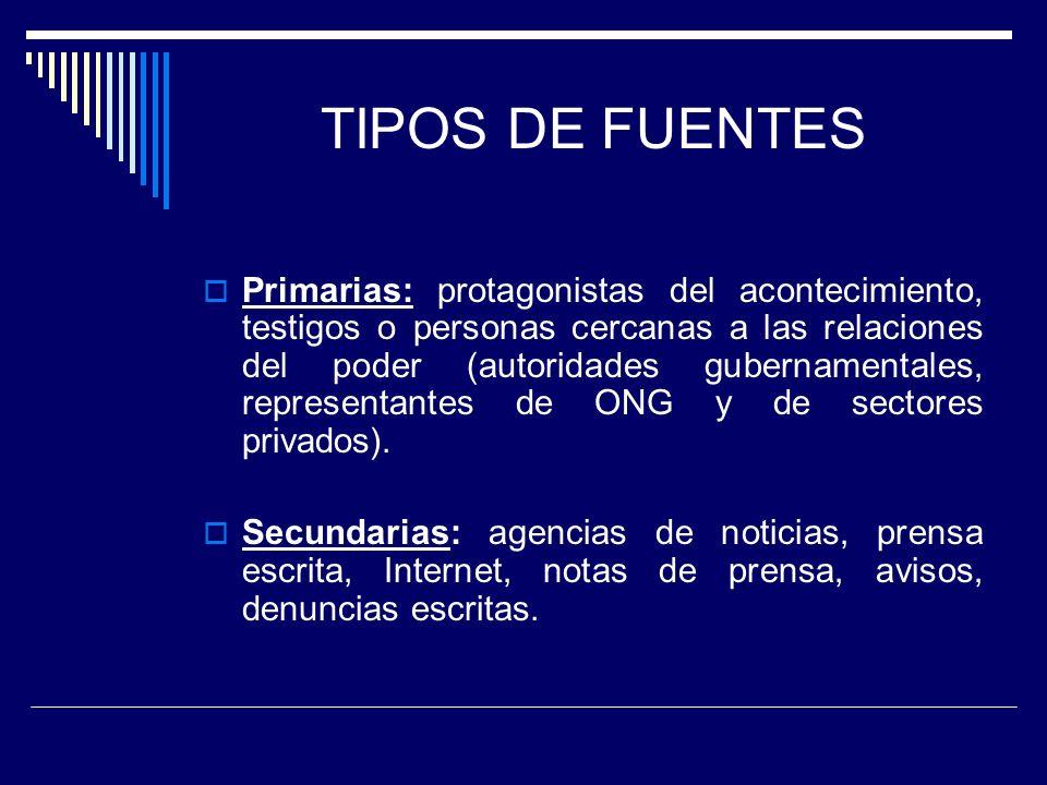 TIPOS DE FUENTES Primarias: protagonistas del acontecimiento, testigos o personas cercanas a las relaciones del poder (autoridades gubernamentales, re