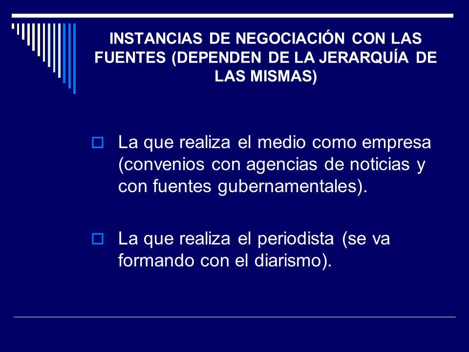INSTANCIAS DE NEGOCIACIÓN CON LAS FUENTES (DEPENDEN DE LA JERARQUÍA DE LAS MISMAS) La que realiza el medio como empresa (convenios con agencias de not