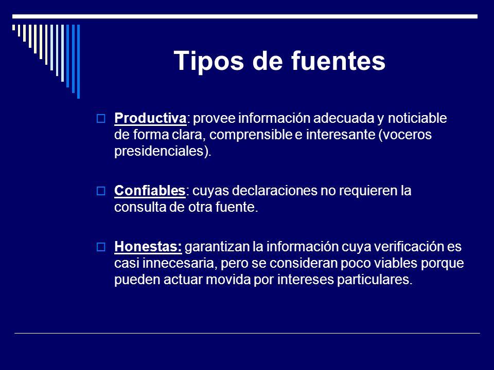 Tipos de fuentes Productiva: provee información adecuada y noticiable de forma clara, comprensible e interesante (voceros presidenciales). Confiables: