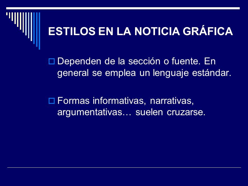 ESTILOS EN LA NOTICIA GRÁFICA Dependen de la sección o fuente. En general se emplea un lenguaje estándar. Formas informativas, narrativas, argumentati