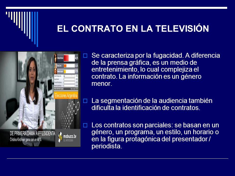 EL CONTRATO EN LA TELEVISIÓN Se caracteriza por la fugacidad. A diferencia de la prensa gráfica, es un medio de entretenimiento, lo cual complejiza el