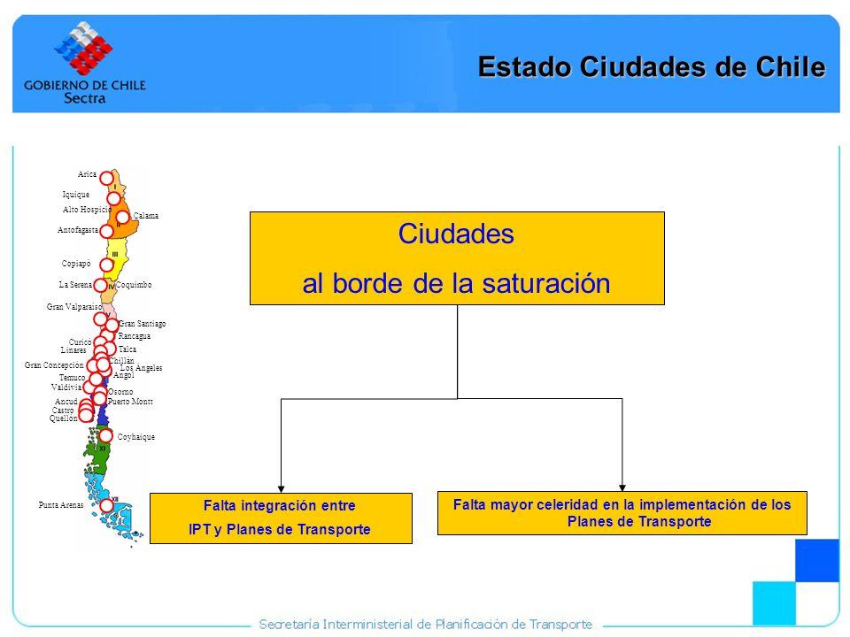 17 Ciudades al borde de la saturación Estado Ciudades de Chile Arica Iquique Alto Hospicio Calama Antofagasta Copiapó La Serena Coquimbo Gran Valparaí