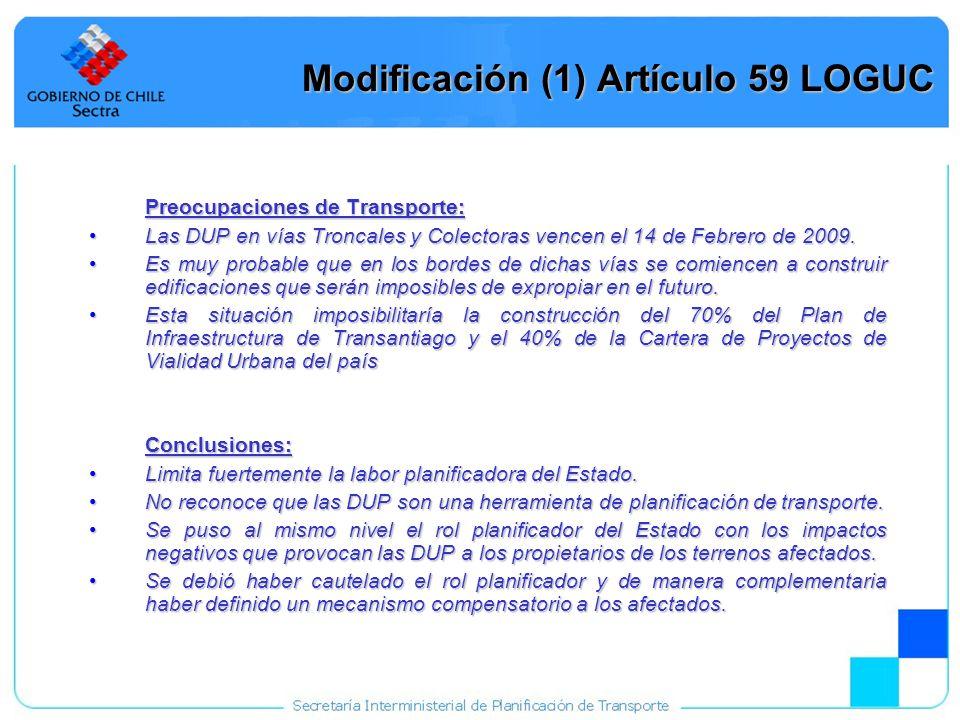 21 Modificación (1) Artículo 59 LOGUC Preocupaciones de Transporte: Las DUP en vías Troncales y Colectoras vencen el 14 de Febrero de 2009.Las DUP en