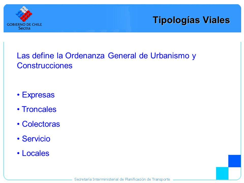 31 Tipologías Viales Las define la Ordenanza General de Urbanismo y Construcciones Expresas Troncales Colectoras Servicio Locales