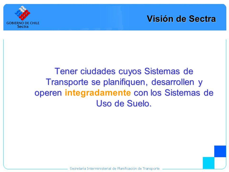 6 Misión de Sectra Desarrollar, aplicar y perfeccionar estudios que permitan una adecuada integración entre los Sistemas de Transporte Urbano y los Sistemas de Uso de Suelo.