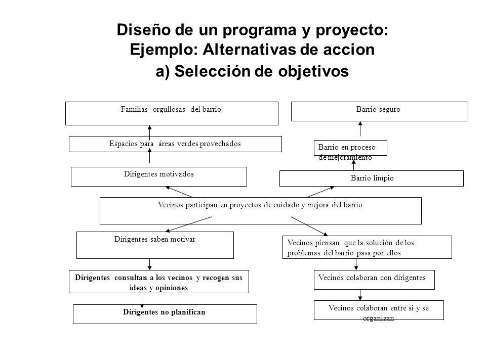 Diseño de un programa y proyecto: Ejemplo: Alternativas de acción b) Analisis de alternativas de acción Intervenir trabajando con los dirigentes Alternativas: (medio para) –Capacitación –Asesoría /acompañamiento en terreno –Ambos Diseño: Elemento claveIndicadoresMedios de verificación Factores externos Fin Propósito Productos Actividades Recursos