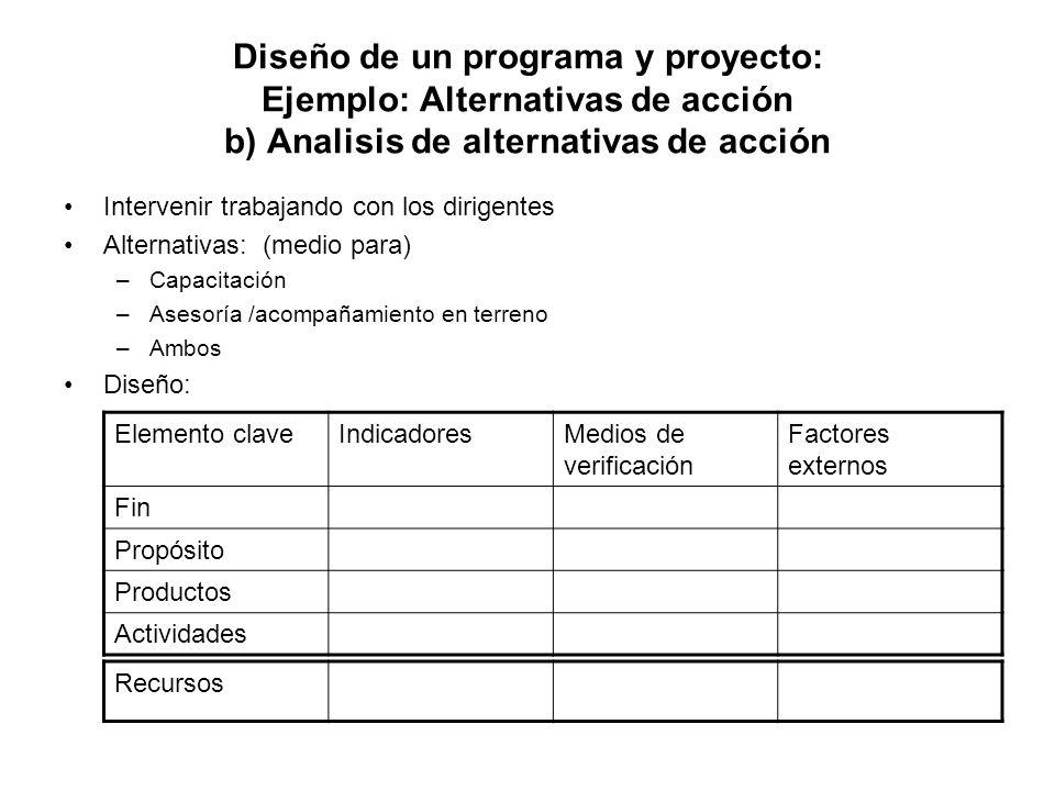 Diseño de un programa y proyecto: Ejemplo: Alternativas de acción b) Analisis de alternativas de acción Intervenir trabajando con los dirigentes Alter