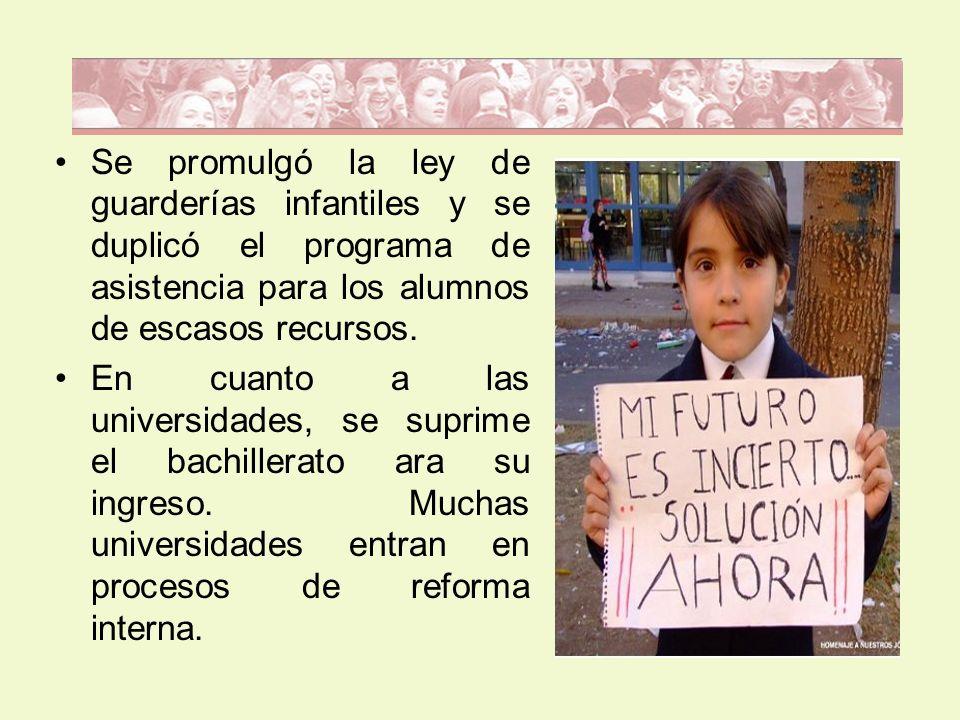 Se promulgó la ley de guarderías infantiles y se duplicó el programa de asistencia para los alumnos de escasos recursos. En cuanto a las universidades