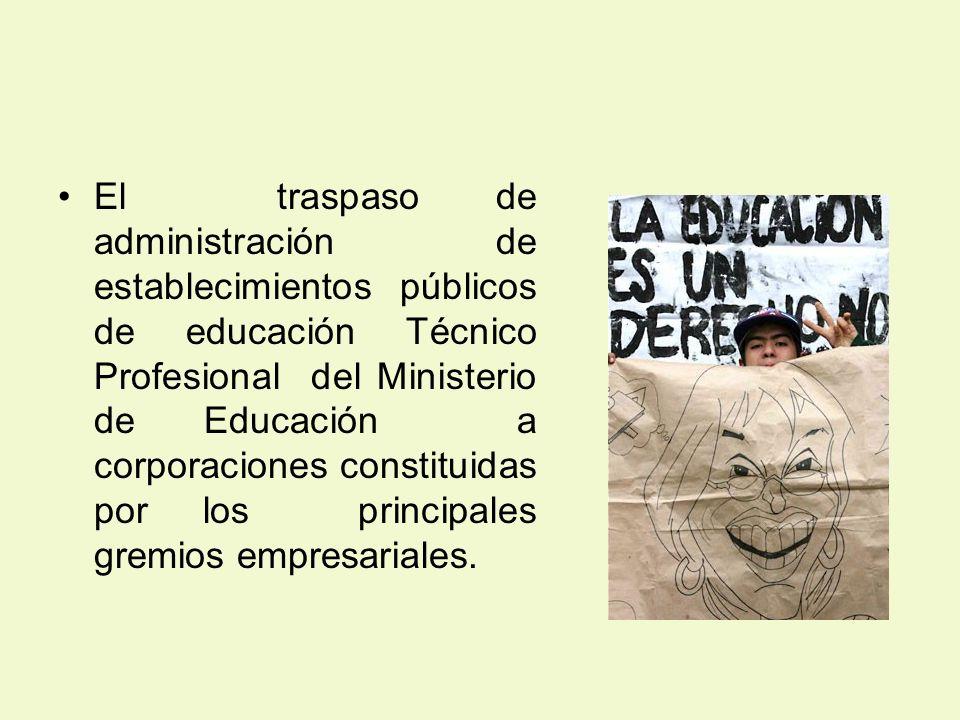 El traspaso de administración de establecimientos públicos de educación Técnico Profesional del Ministerio de Educación a corporaciones constituidas p