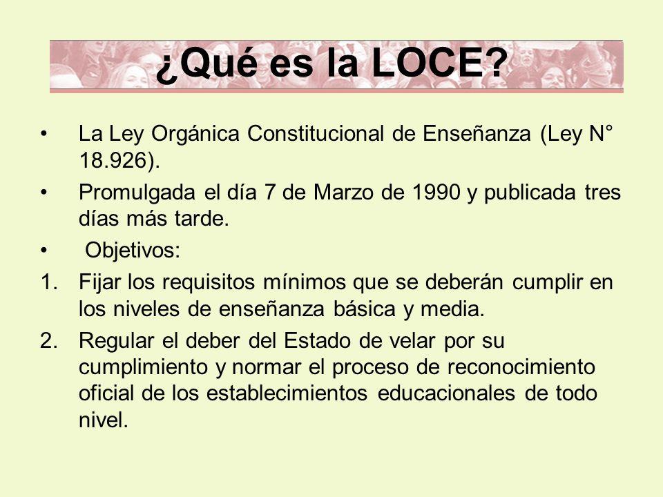 ¿Qué es la LOCE? La Ley Orgánica Constitucional de Enseñanza (Ley N° 18.926). Promulgada el día 7 de Marzo de 1990 y publicada tres días más tarde. Ob
