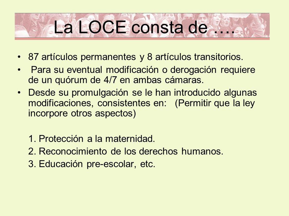 La LOCE consta de …. 87 artículos permanentes y 8 artículos transitorios. Para su eventual modificación o derogación requiere de un quórum de 4/7 en a