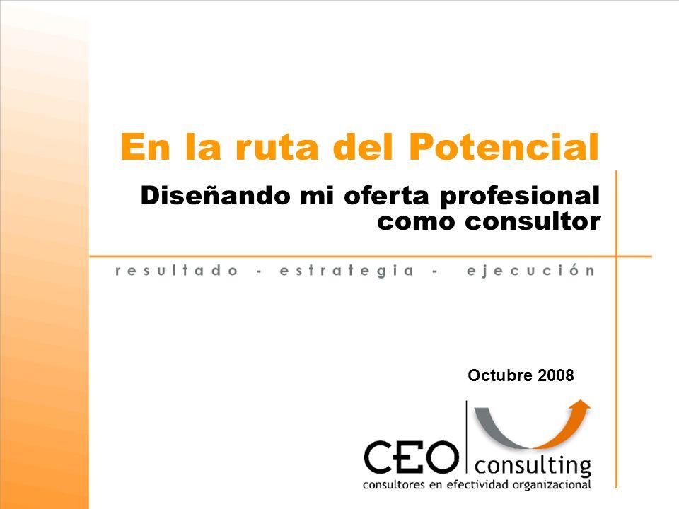 En la ruta del Potencial Diseñando mi oferta profesional como consultor Octubre 2008