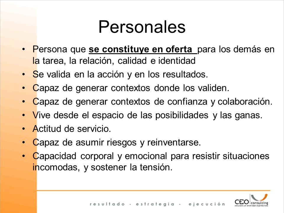 Personales Persona que se constituye en oferta para los demás en la tarea, la relación, calidad e identidad Se valida en la acción y en los resultados