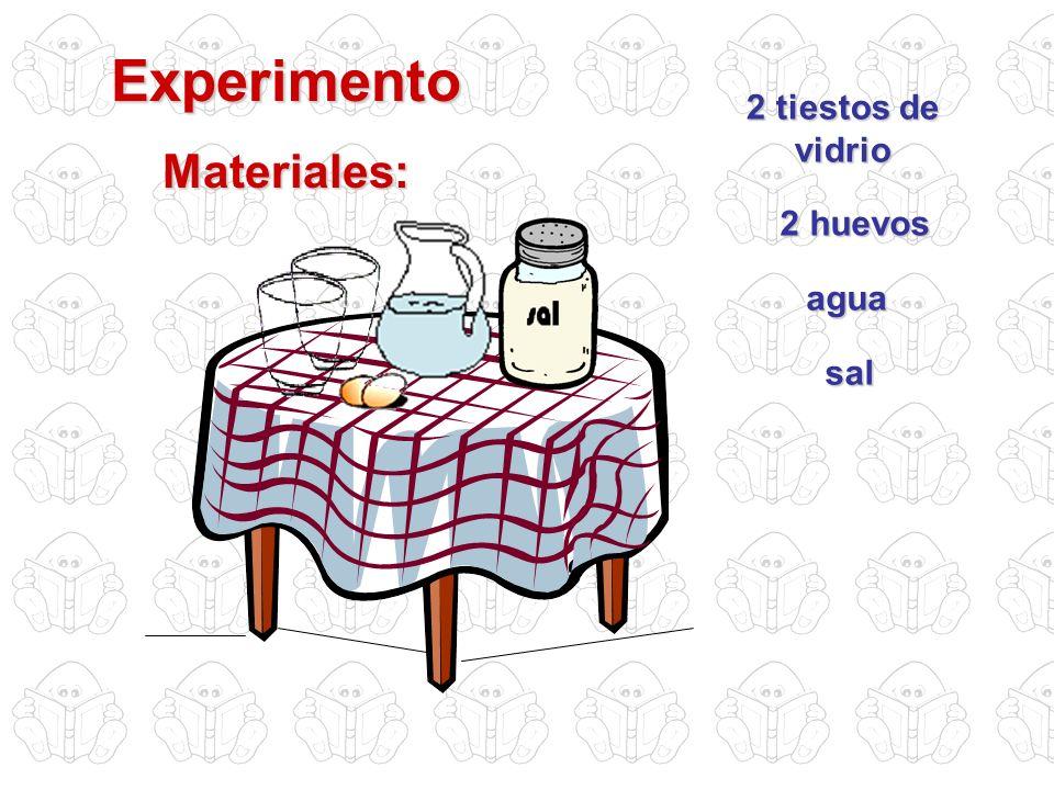 Experimento Materiales: 2 tiestos de vidrio 2 huevos agua sal